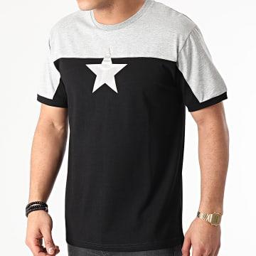 John H - Tee Shirt XW918 Noir Gris Chiné Argenté
