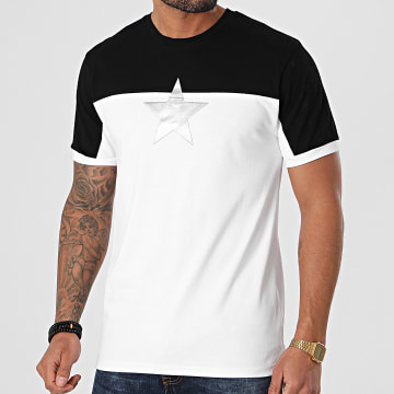 John H - Tee Shirt XW918 Blanc Noir Argenté