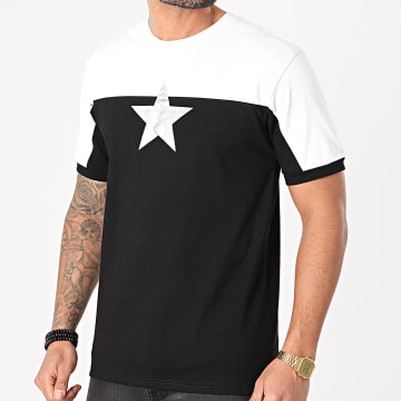 John H - Tee Shirt XW918 Noir Blanc Argenté