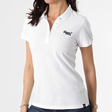 Superdry - Polo Manches Courtes Femme W6010017A Ecru