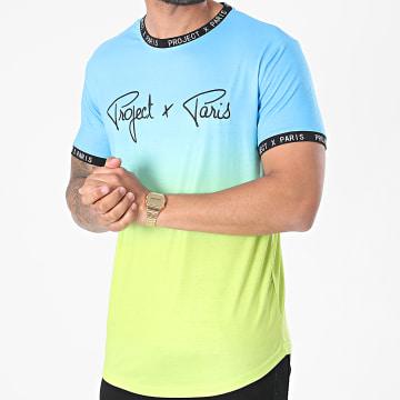 Project X - Tee Shirt Oversize 2110151 Bleu Clair Vert Clair Dégradé