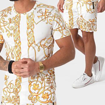 Zayne Paris  - Ensemble Tee Shirt Short Renaissance E236 Blanc Jaune