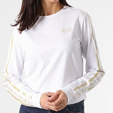 EA7 Emporio Armani - Tee Shirt Femme 3KTT20-TJ29Z Blanc Doré
