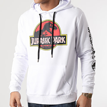 Jurassic Park - Sweat Capuche Jurassic Park Original Logo Sleeve Blanc