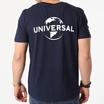 Universal Studio - Tee Shirt Universal Logo Mono Back Bleu Marine Blanc
