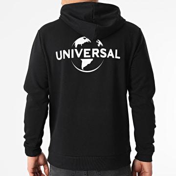 Universal Studio - Sweat Capuche Universal Logo Mono Back Noir Blanc