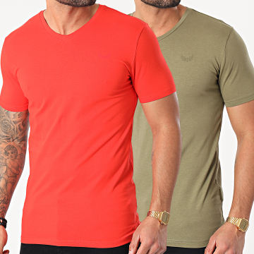 Kaporal - Lot De 2 Tee Shirts Col V Gift Vert Kaki Rouge