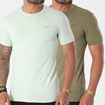 Kaporal - Lot De 2 Tee Shirts Rift Vert Clair Vert Kaki