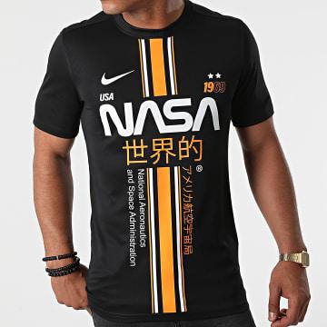 NASA - Tee Shirt Stripe Noir Orange Custom