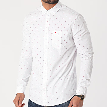 Tommy Jeans - Chemise Manches Longues Dobby 0153 Blanc
