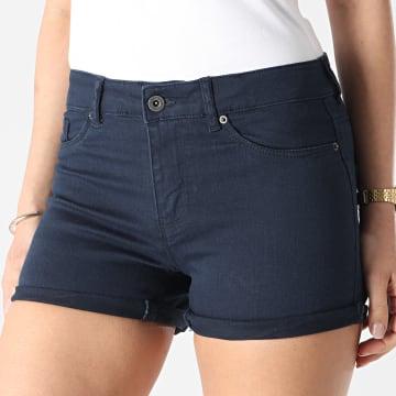 Vero Moda - Short Jean Femme Seven Bleu Marine