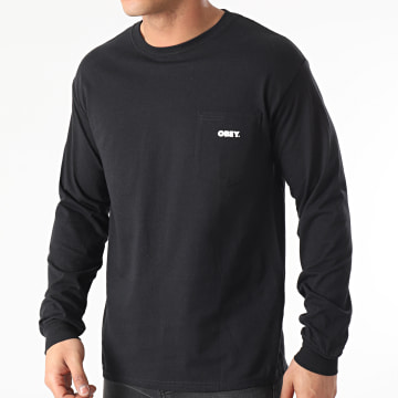 Obey - Tee Shirt Manches Longues Poche Bold Noir