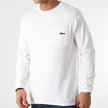 Obey - Tee Shirt Manches Longues Poche Bold Blanc