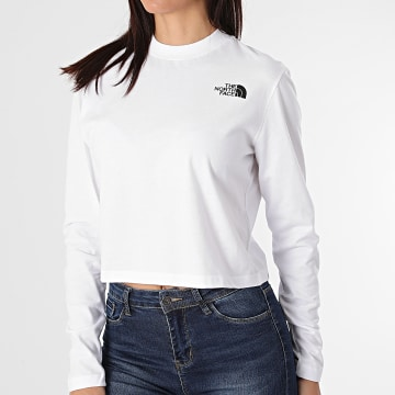 The North Face - Tee Shirt Manches Longues Femme Crop A5581FN4 Blanc