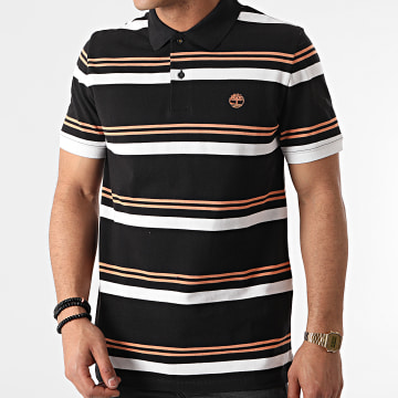 Timberland - Polo Manches Courtes A Rayures A2DJ3 Noir Orange Blanc