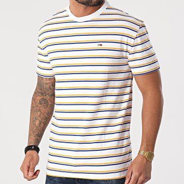 Tommy Jeans - Tee Shirt A Rayures Two Tone Stripe Classic 0264 Blanc