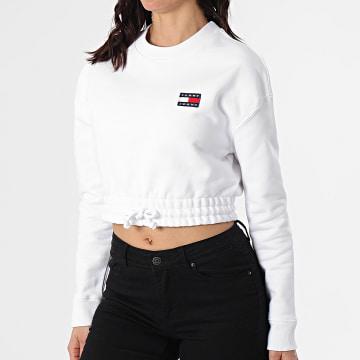 Tommy Jeans - Sweat Crewneck Femme Super Cropped 9797 Blanc