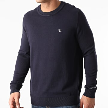 Calvin Klein - Pull Monogram Chest Logo 7118 Bleu Marine