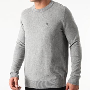 Calvin Klein - Pull Monogram Chest Logo 7118 Gris Chiné