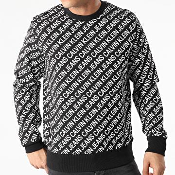 Calvin Klein - Sweat Crewneck AOP Diagonal Logo J30J318060 Noir