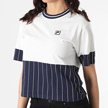 Fila - Tee Shirt Femme Hanae 688539 Blanc Bleu Marine