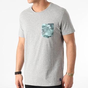 Blend - Tee Shirt Poche Floral 20712050 Gris Chiné