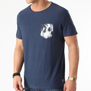 Blend - Tee Shirt Poche Floral 20712072 Bleu Marine