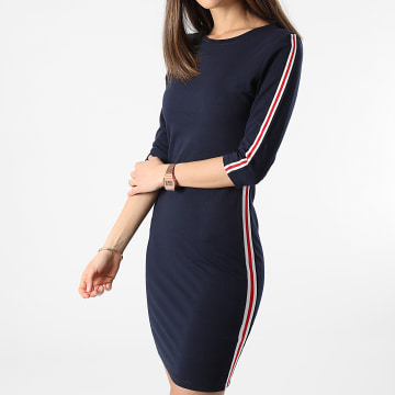 Girls Outfit - Robe Femme A Bandes 331-35 Bleu Marine
