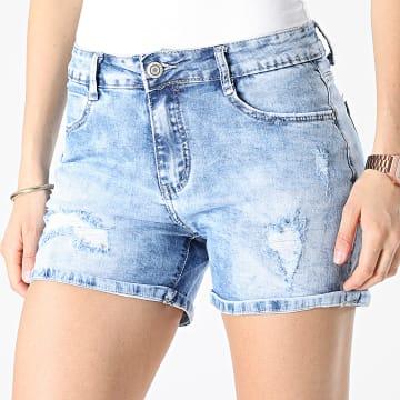 Girls Outfit - Short Jean Slim Femme R-521 Bleu Denim