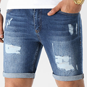 LBO - Short Jean Skinny Fit Avec Dechirures 1468 Denim Bleu Medium