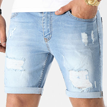 LBO - Short Jean Skinny Fit Avec Dechirures 1469 Denim Bleu Clair