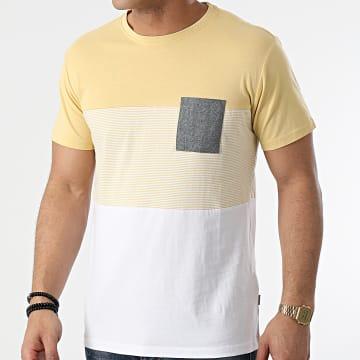Solid - Tee Shirt Poche Riggin 21105263 Jaune Blanc