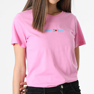 Tommy Jeans - Tee Shirt Slim Femme Multilinear Logo 9818 Rose
