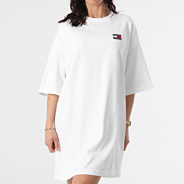 Tommy Jeans - Robe Tee Shirt Femme Oversized Badge 9916 Blanc