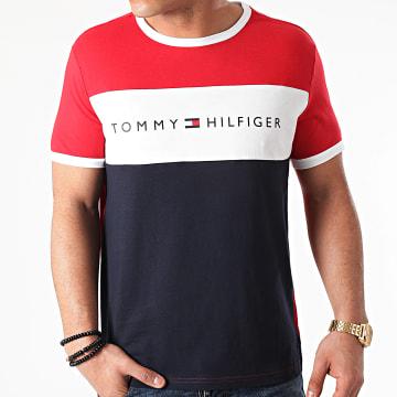 Tommy Hilfiger - Tee Shirt Tricolore Logo Flag 1170 Rouge Bleu Marine