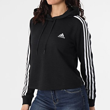 Adidas Performance - Sweat Capuche Crop Femme A Bandes GM5582 Noir