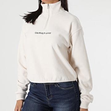 Calvin Klein - Sweat Col Zippé Femme 5256 Beige