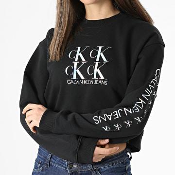 Calvin Klein - Sweat Crewneck Crop Femme Shine Logo 5575 Noir