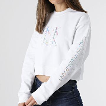 Calvin Klein - Sweat Crewneck Crop Femme Shine Logo 5575 Blanc