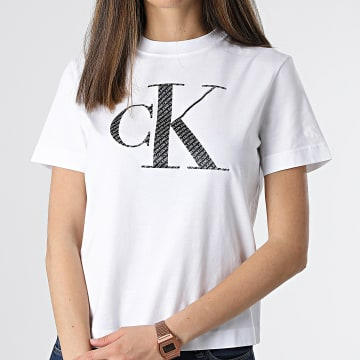 Calvin Klein - Tee Shirt Femme Satin Bonded Filled 5605 Blanc