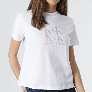 Calvin Klein - Tee Shirt Femme Shine Logo 5637 Blanc