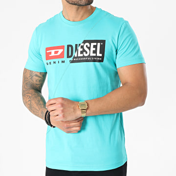 Diesel - Tee Shirt 00SDP1-0091A Bleu Turquoise