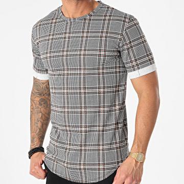 Frilivin - Tee Shirt Oversize A Carreaux 15196 Blanc Noir Beige