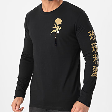 Luxury Lovers - Tee Shirt Manches Longues Oriental Mono Noir Or