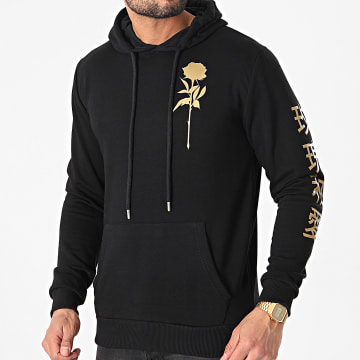 Luxury Lovers - Sweat Capuche Orient Mono Noir Doré