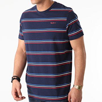 Pepe Jeans - Tee Shirt A Rayures Duncany Bleu Marine