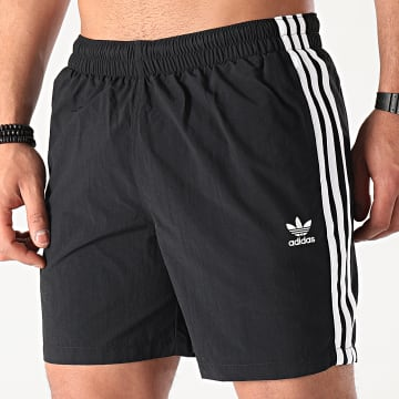 Adidas Originals - Short De Bain A Bandes 3 Stripes GN3523 Noir