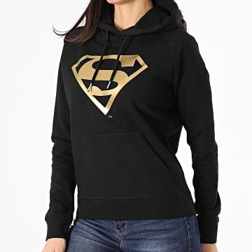 DC Comics - Sweat Capuche Femme Logo Noir Doré
