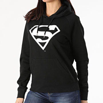 DC Comics - Sweat Capuche Femme Logo Noir Blanc