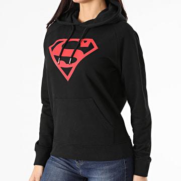 DC Comics - Sweat Capuche Femme Logo Noir Rouge